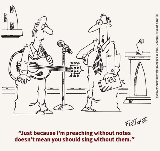 Cartoon about preaching without notes
