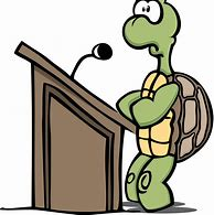 Picture of turtle at a podium as a guideline about speaking too slowly