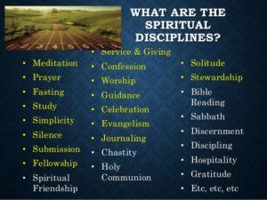 listing of spiritual disciplines